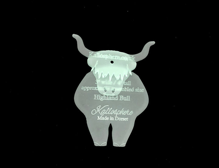 A HIGHLAND COW ACRYLIC SEWING/CRAFT TEMPLATE from 6cm