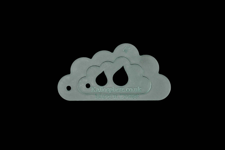 A SET OF TWO FLUFFY CLOUD SEWING CRAFT TEMPLATES 10CM AND 6.5CM