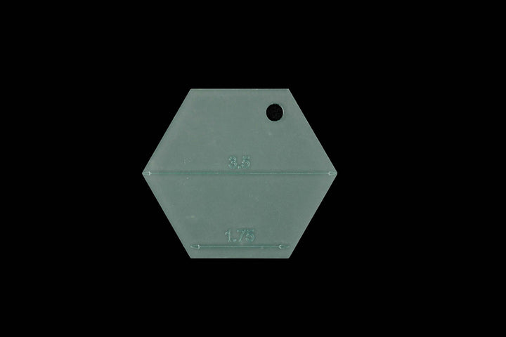 "A 1.75"" HEXAGON WITH OR WITHOUT SEAM ALLOWANCE ACRYLIC SEWING/CRAFT TEMPLATES"
