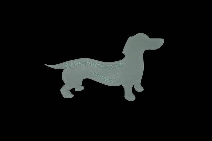 A DASHING DACHSHUND ACRYLIC SEWING CRAFT TEMPLATE from 6cm