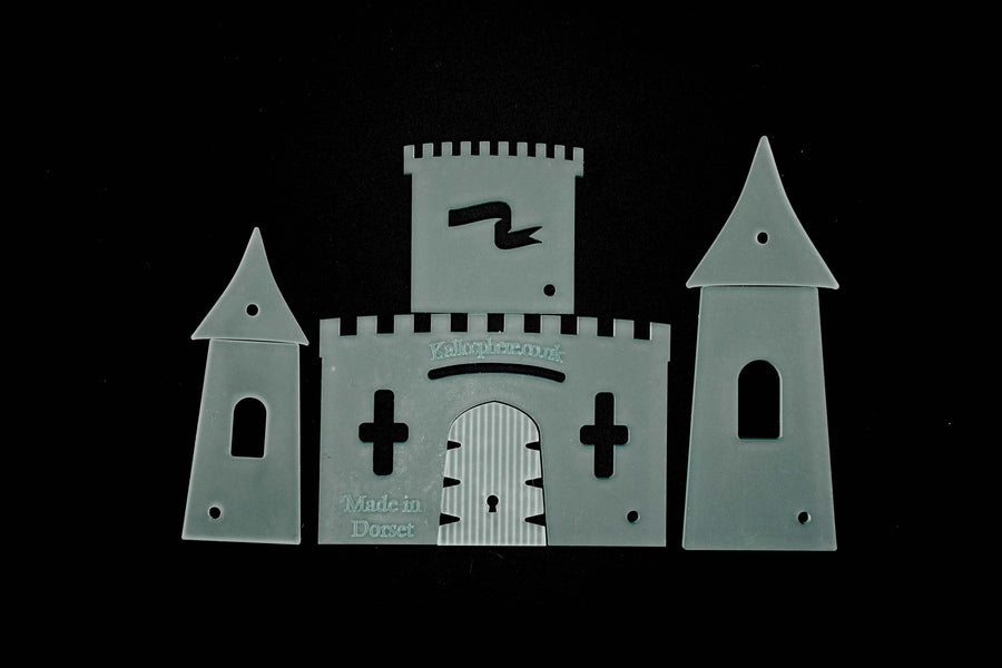 A SET OF ACRYLIC SEWING/CRAFT TEMPLATES TO CREATE A UNIQUE FAIRY CASTLE