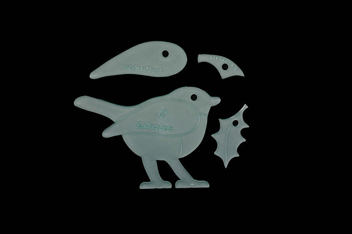 A CHRISTMAS ROBIN AND HOLLY LEAF ACRYLIC SEWING CRAFT TEMPLATE from 3""