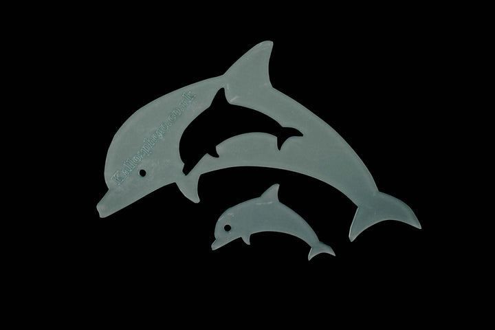 A SET OF DOLPHIN ACRYLIC SEWING/CRAFT TEMPLATE