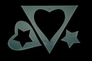 A TRIANGLE, HEART AND STAR APPLIQUE CRAFT TEMPLATE