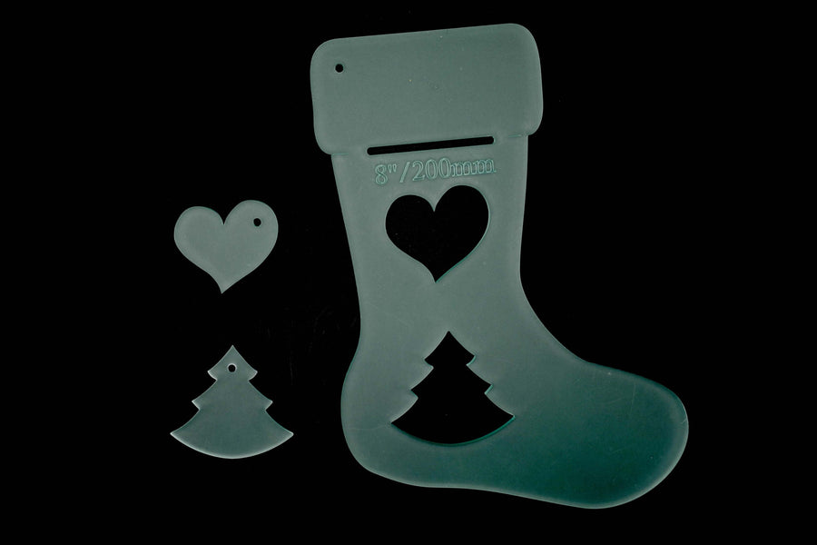 "ACRYLIC STOCKING TEMPLATE WITH HEART AND TREE MINI TEMPLATES PLUS 1/4"" SPACER"