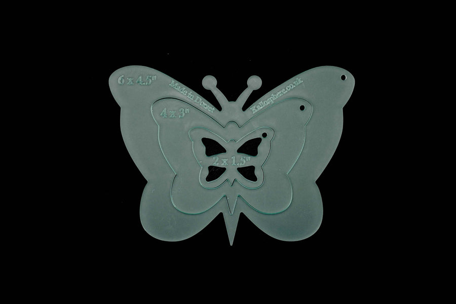 A SET OF ACRYLIC BUTTERFLY SEWING CRAFT TEMPLATES