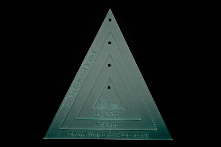 THREE ACRYLIC BUNTING TRIANGLE SEWING/CRAFT TEMPLATES - 20CM X 20CM (DROP)