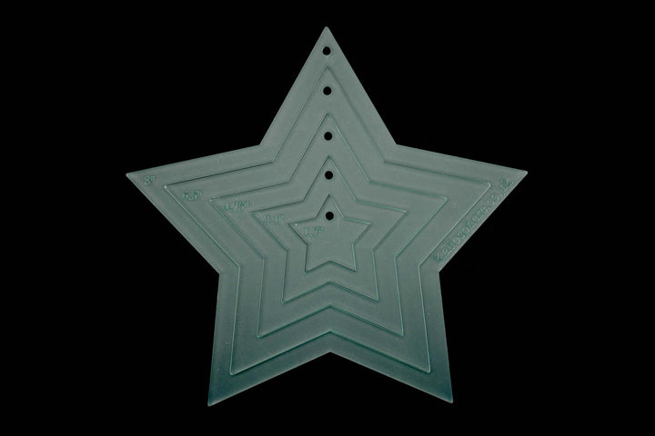 FIVE ACRYLIC FIVE POINTED STAR TEMPLATES STENCILS FOR SEWING AND OTHER CRAFTS