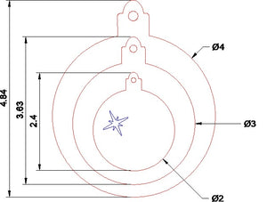 A set of three bauble templates