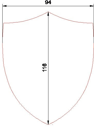 A SHIELD ACRYLIC SEWING/CRAFT TEMPLATE