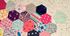 A SET OF SEVEN ACRYLIC HEXAGON SEWING/CRAFT STENCILS FOR QUILTING