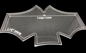 An acrylic batwing face covering template