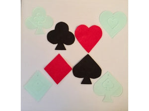A SET OF ACRYLIC HEARTS, DIAMONDS, SPADES AND CUBS TEMPLATES