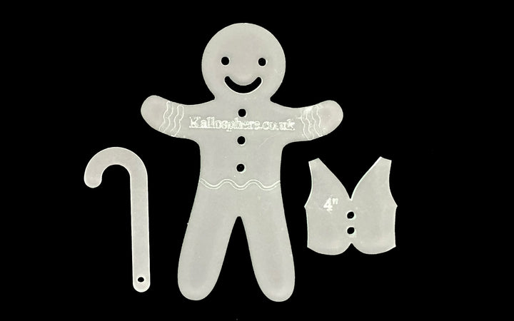 GINGERBREAD MAN WITH STRAIGHT LEGS, WAISTCOAT ACRYLIC SEWING CRAFT TEMPLATE