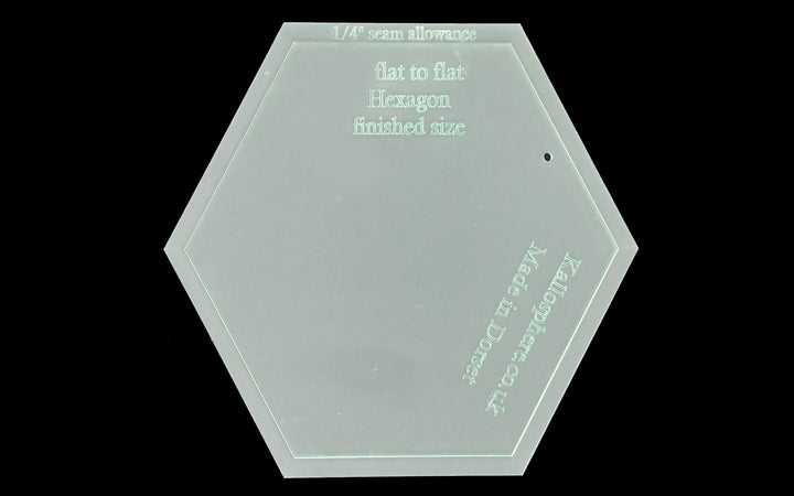 "A HEXAGON ACRYLIC SEWING/CRAFT TEMPLATE INC A SEPARATE 1/4"" SEAM - FROM 1"""