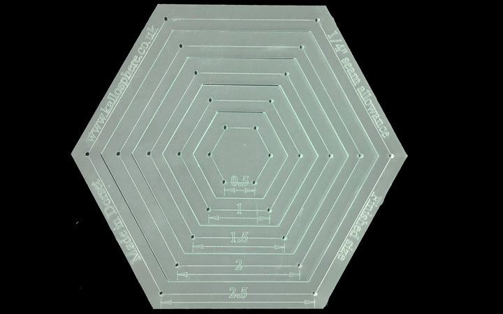 "A SET OF FIVE HEXAGON ACRYLIC SEWING/CRAFT TEMPLATES INC 1/4"" SEAM"