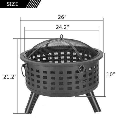 Outdoor Propane Gas Wood Burning Metal Fire Pit