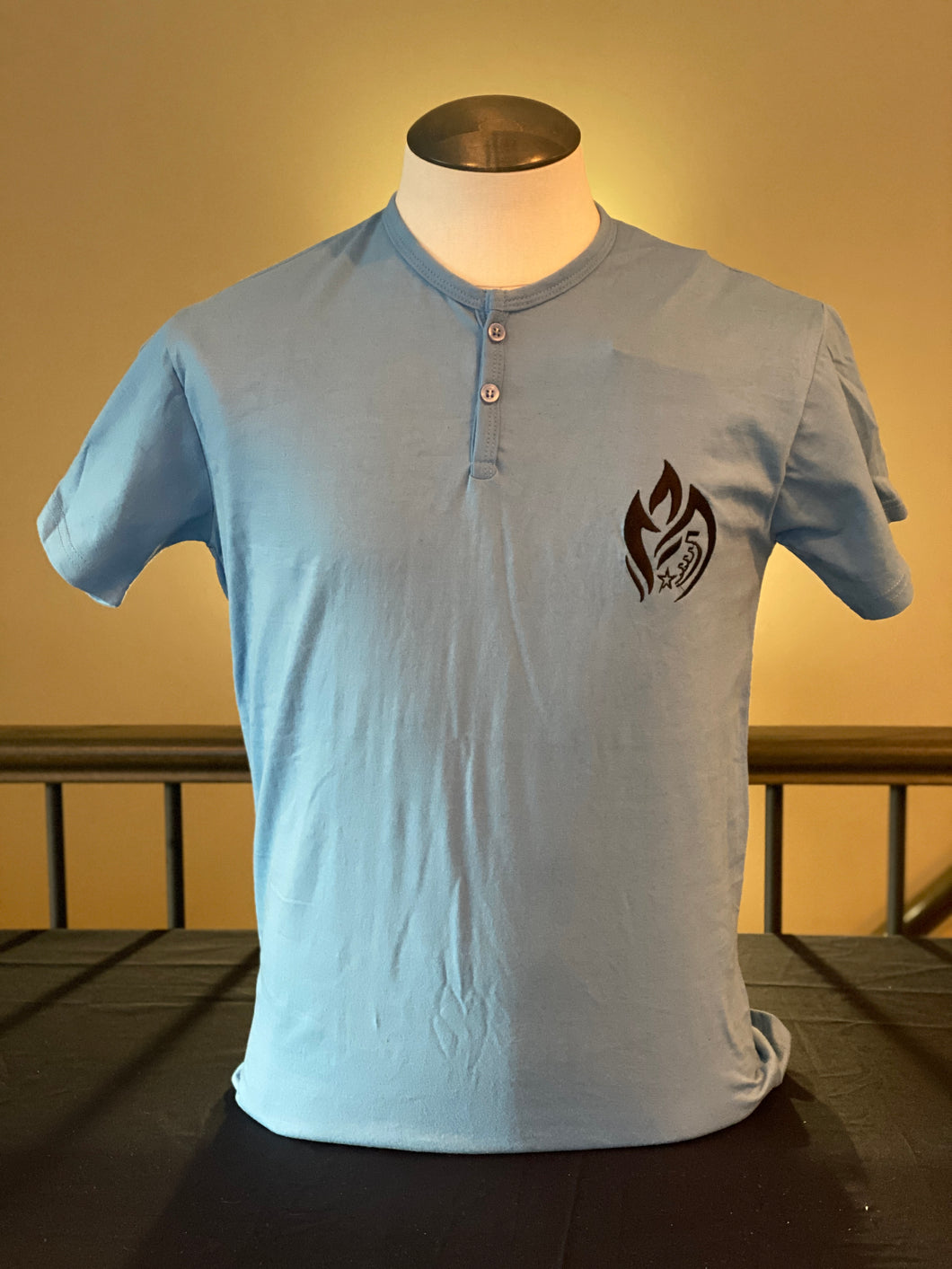 Blue Two Button T-shirt
