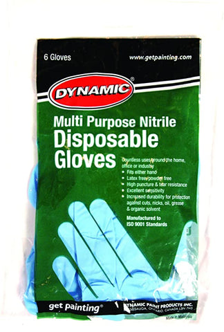 Dynamic Paint AF002822 Multi-Purpose Disposable Nitrile Gloves, Pack of 6
