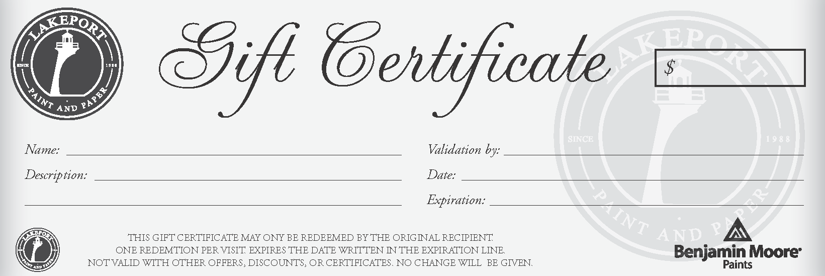 LAKEPORT PAINT GIFT CERTIFICATE