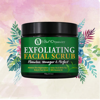 Exfoliating Facial Scrub for Sensitive, Black, Dry and Oily Skin - buyvitalorganics
