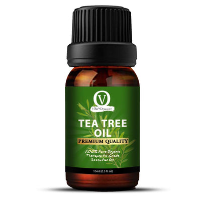 Vital Organics Pure, Undiluted, Cold-Pressed, Unrefined Therapeutic AAA+ Grade Tea Tree Essential Oil for Skin Acne and Dandruff, Face, Hair, Skin