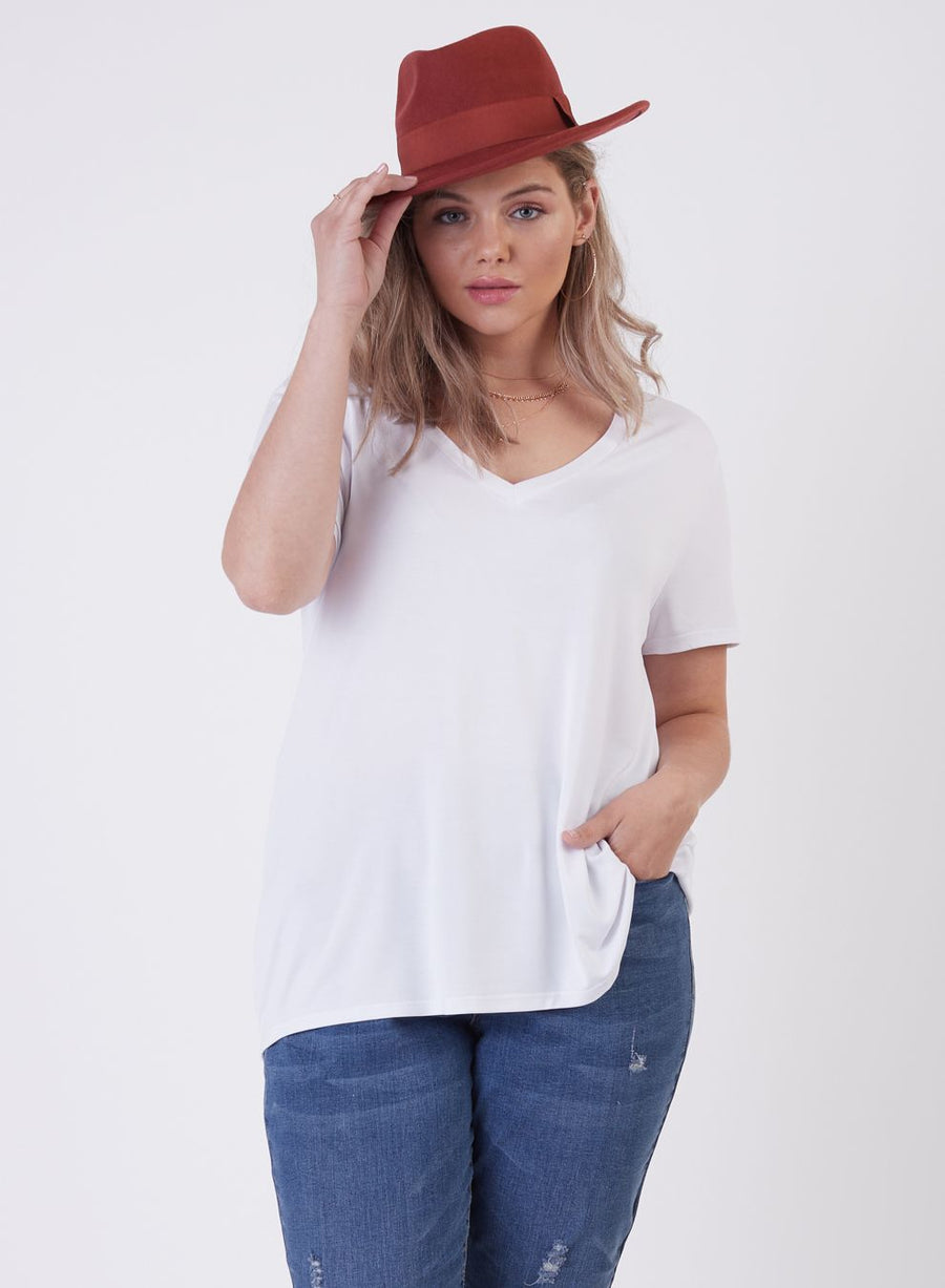 Ladies Plus V-Neck Cupro Tee