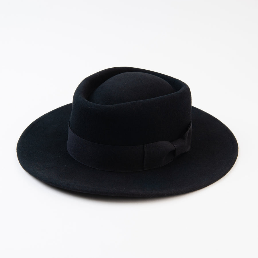 Black Wool Felt Gambler Hat