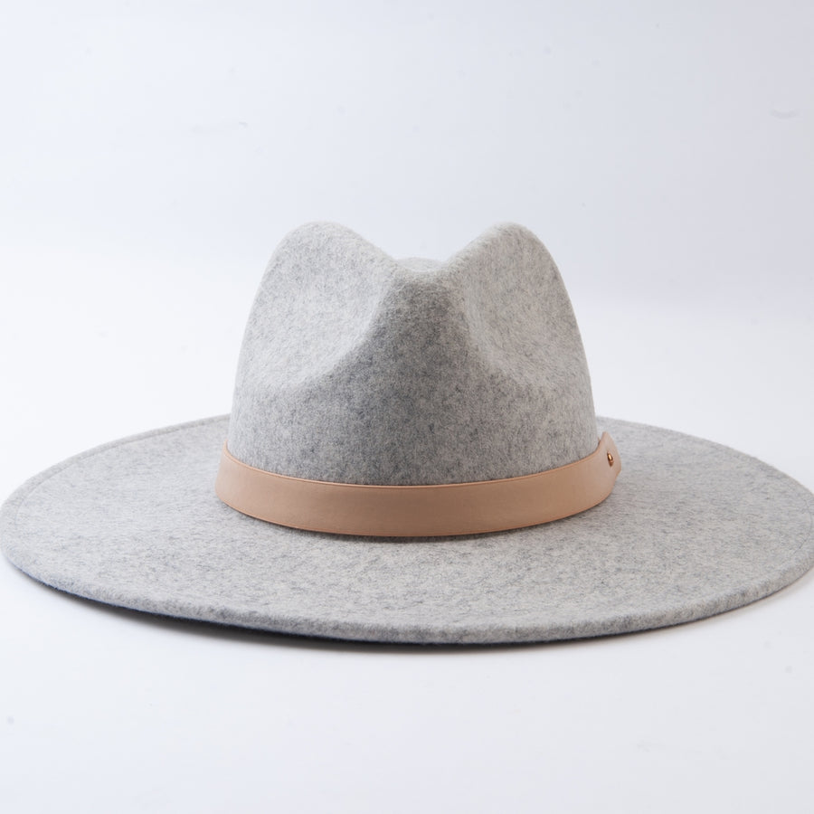 Heather Grey Wool Fedora with Trim