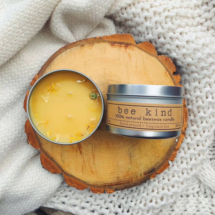 "Wick'd Petals ""Bee Kind"" Beeswax Candle"