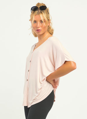 Short Sleeve Button Front Top