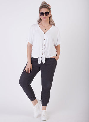Ladies Plus Button Front Knit Top