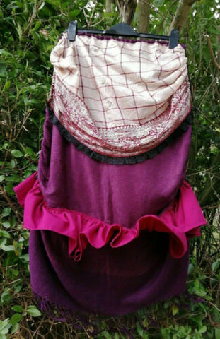 RECYCLED/BESPOKE/BOHO Burgundy Layered, Ruffled, Hitched Skirt Steampunk OOAK