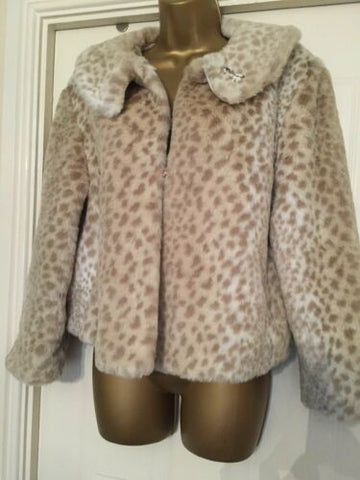 Faux Fur Animal Print Jacket Ideal For Party Season Size 14 Amaranto Immaculate