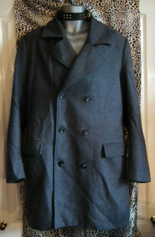 Mens Forever 21 Double Breasted Duster Trench Coat Wool Blend Grey Size LARGE
