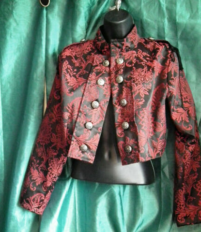 red brocade Military Style Jacket-Jordash Clothing/Dark Star.New with tags,crop