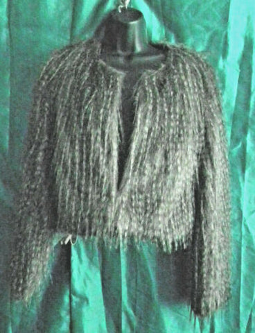 Faux Fur very Shaggy Jacket,owl feather style lined, gorgeus item.size8/10uk.