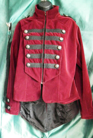 Unisex red brocadeMilitary StyleFrokCoat-with tails/Dark Star.New.Size XL-ch-48