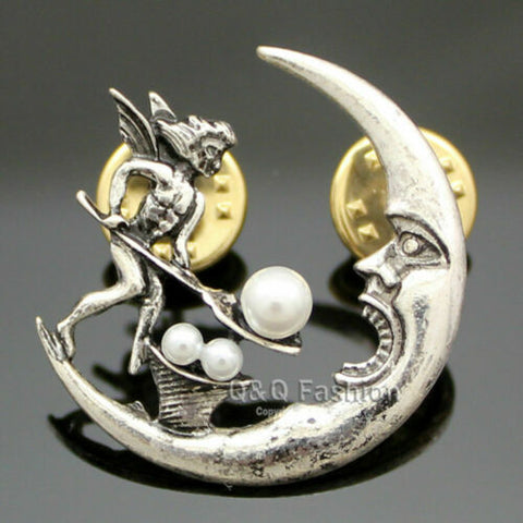 Antique Tribal Angel Fairy Feeding Moon Cresent Pearl Baroque Lapel Brooch Pin