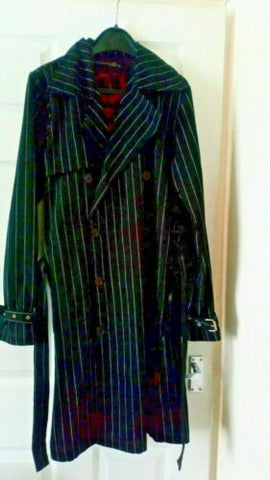 CRIMINAL DAMAGE- GOTH/EMO/PUNK BLACK WHITE STRIPE CORSET COAT VGC.SIZE S-M