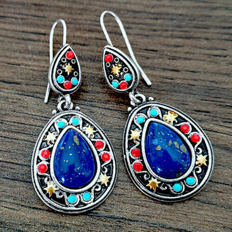 1 Pair Natural Gemstone Turquoise Earrings Boho Dangle Bohemian Jewellery Gift