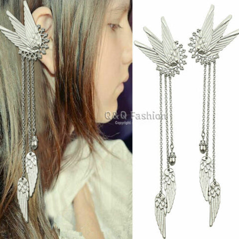 1Pair Fairy Elf Pixie Angel Wing Long Tassels Ear Cuffs Clips Cosplay Earrings