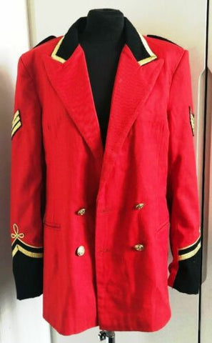 true Vintage Mens Red Wool Military Jacket With Gold Piping Size Large42