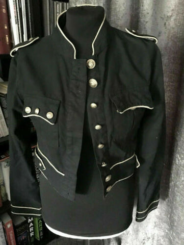 MILITARY/STEAMPUNK/FEST black ladies CROPPED jacket size 10-GOLD EDGIG & BUTTONS