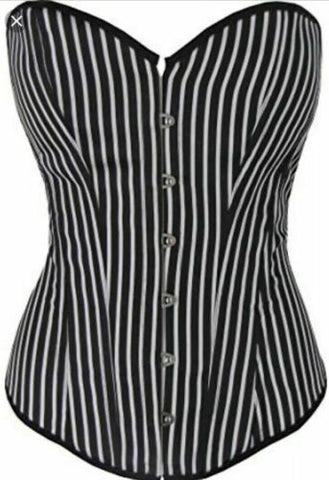 Stripe Corset Vintage Rockabilly Steam Punk -steel boned & thong.size8/12/22uk