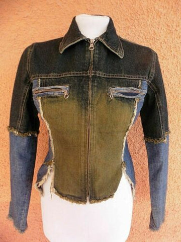 Ladies Essenza Blue & Gold Fitted Stylish Denim Jacket Size m (see pics re size)