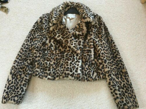 funky Ladies New Look Size 8 Faux fur animal Leopard print soft jacket / coat.
