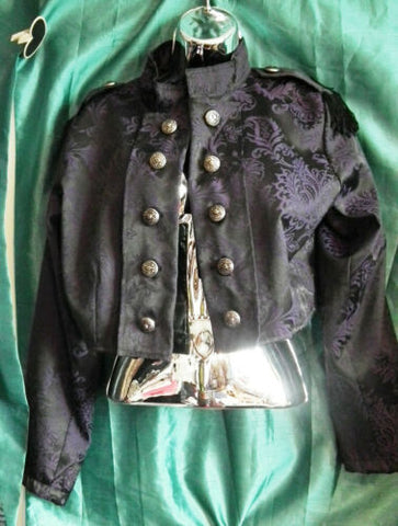 Unisex purple brocade cropped Military Style/Dark Star jacket.New.Size m/-ch-40