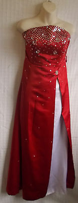 Vintage Manhattan Red Satin Eve Dress/Wedding Dress hand-embroidered front