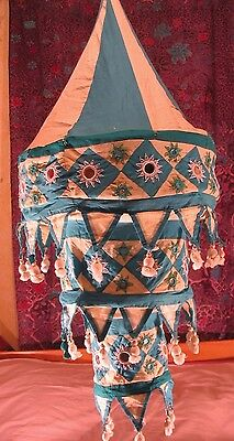 large 3 tier pendant style oriental cotton lampshade.shisha mirrors 34